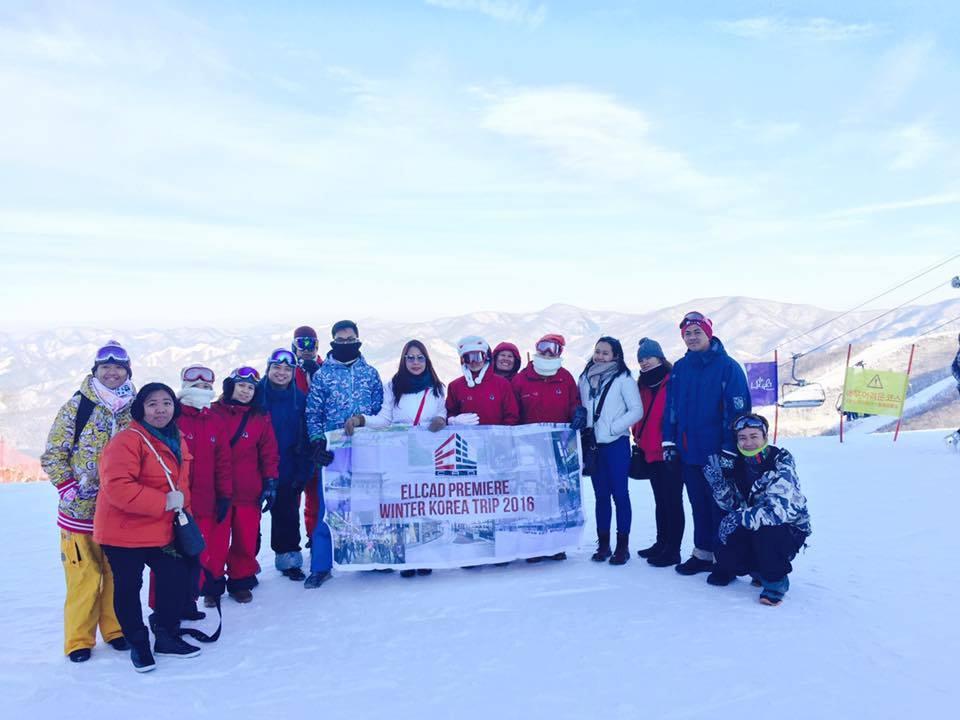 Ellcad Team before skiing